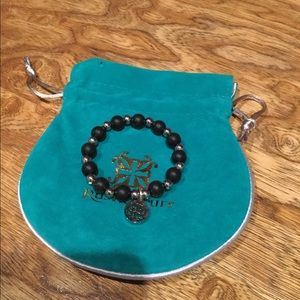Rustic Cuff Girls black & silver ball bracelet